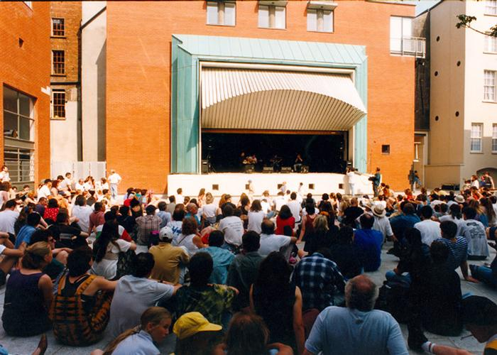 Meeting house square in use as a music stage.