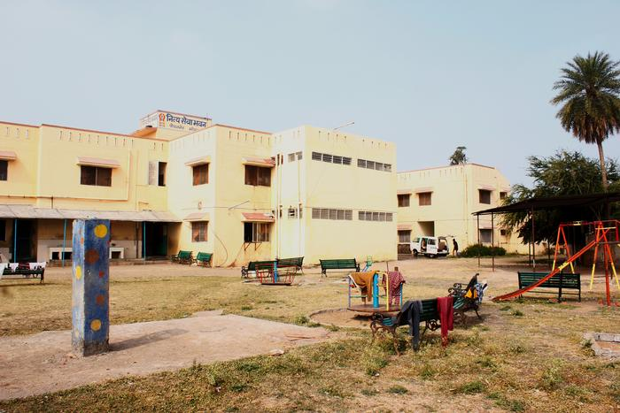 A view of NSS building from its multi-use playground