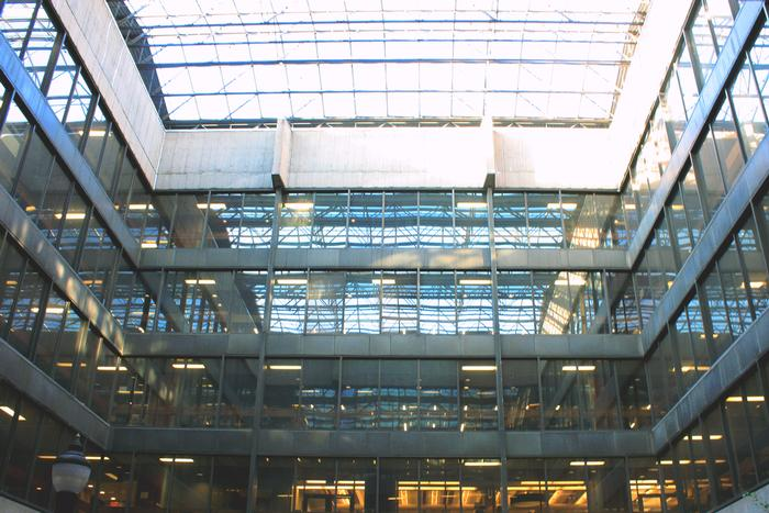 Figure 4. The Killam's covered atrium. Every light stays on despite the sun.