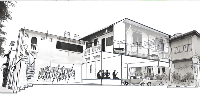 A diagrammatic section of Pondok Tampilung denoting how spaces were used within the shophouse