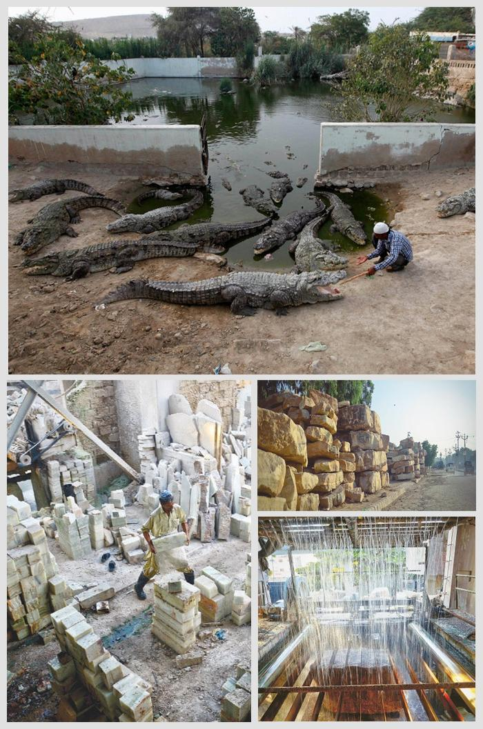 Crocodile lake, Marble and onyx production at Manghopir