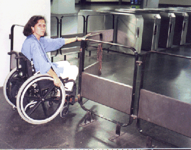 Wide doors are needed to accommodate wheelchair riders entering fare-paid areas of transit terminals, as in this subway station in Rio de Janeiro.