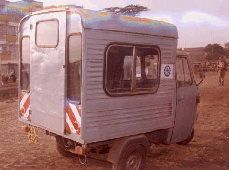 This prototype three-wheeled vehicle was built with AEI's assistance by Kepha Motorbikes in Nairobi, Kenya.