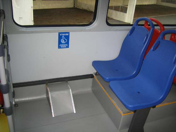 Transit systems around the world have reserved seating for seniors and passengers with disabilities, and often for pregnant women as well, as found on this TransMilenio bus in Bogotá, Colombia.