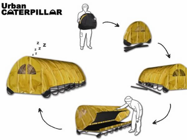 Urban Caterpillar Design for Rough Sleepers, London, UK, designed by Amy Brazier.