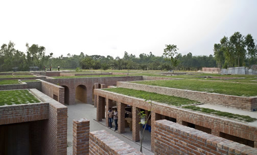 FRIENDSHIP CENTRE, Gaibandha, Bangladesh.  Kashef Mahboob Chowdhury/URBANA architects, 2011.   Built by an NGO which works with some of the poorest in the country who live mainly in riverine islands (chars) with very limited access and opportunities, Friendship uses the facility for its own training programs and also rents out spaces for meetings, training, conferences etc. to further its role as a new focus for the community.  (Contributor: Nezar AlSayyad, photo at: http://www.archdaily.com/423706/friendship-centre-kashef-mahboob-chowdhury-urbana)