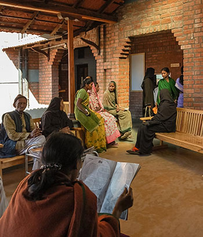 Within a Vernacular form, the Sambhavna Clinic provides healthcare, knowledge and space to gather.